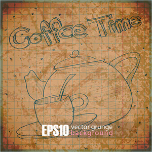 Eps10 Vintage Background With Teapot And Cup