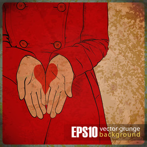 Eps10 Vintage Background With The Girl In A Red Coat With The Drawn Heart In Palms.