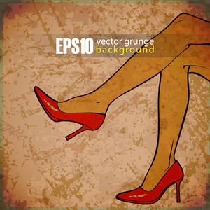 Eps10 Vintage Background With Women Foots