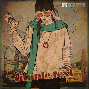 Eps10 Vintage Illustration With Beautiful Fashion Girl