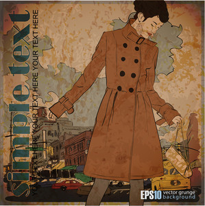 Eps10 Vintage Illustration With Prety Autumnal Girl