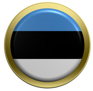 Estonia Flag On The Round Button Isolated On White.