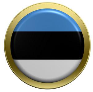 Estonia Flag On The Round Button Isolated On White.