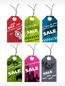 Et Of Six Grungy Tag With Sale