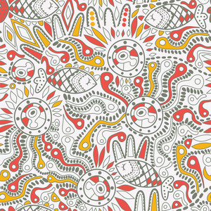 Ethnic Seamless Pattern. Copy Square To The Side And You'll Get Seamlessly Tiling Pattern Which Gives The Resulting Image Ability To Be Repeated Or Tiled Without Visible Seams.