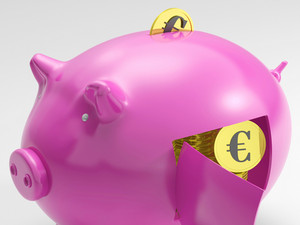 Euro In Piggy Shows Currency And Investment