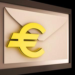 Euro On Envelope Showing Money Exchange