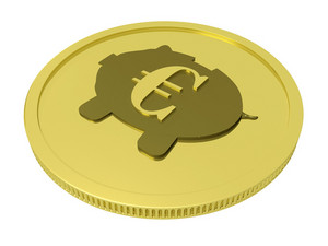 Euro Piggy Coin Showing European Currency
