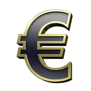 Euro Sign From Black With Gold Shiny Frame Alphabet Set