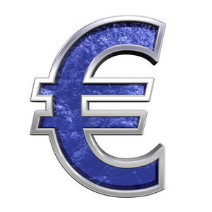 Euro Sign From Blue Glass Cast Alphabet Set