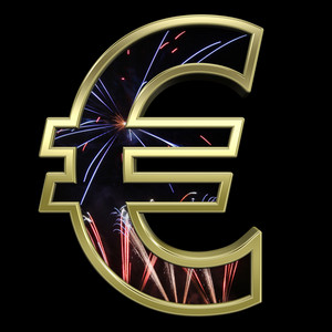 Euro Sign From Firework With Gold Frame Alphabet Set