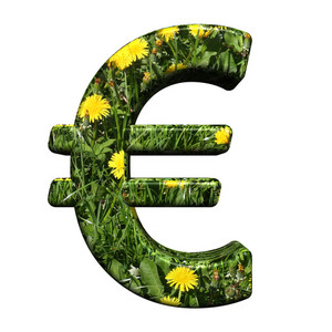 Euro Sign From Floral Alphabet Set