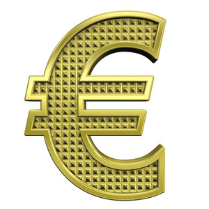 Euro Sign From Knurled Gold Alphabet Set