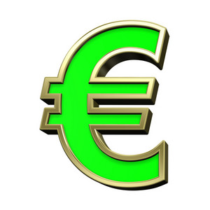 Euro Sign From Light Green With Gold Frame Alphabet Set