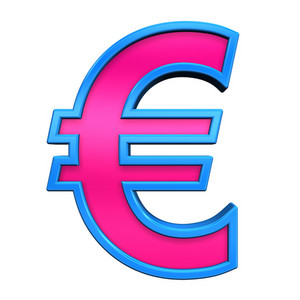 Euro Sign From Pink With Blue Frame Alphabet Set, Isolated On White
