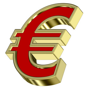 Euro Sign From Red With Gold Frame Alphabet Set, Isolated On White
