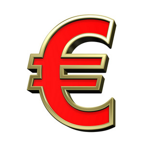Euro Sign From Red With Gold Shiny Frame Alphabet Set