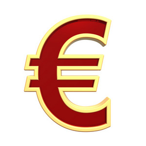 Euro Sign From Ruby With Gold Frame Alphabet Set