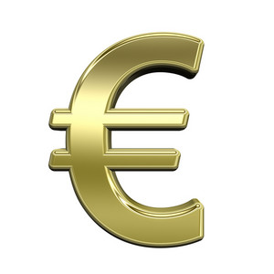 Euro Sign From Shiny Gold Alphabet Set