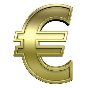 Euro Sign From Shiny Gold With Frame Alphabet Set