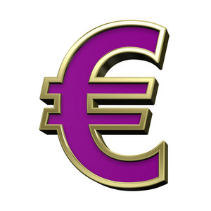 Euro Sign From Violet With Gold Shiny Frame Alphabet Set