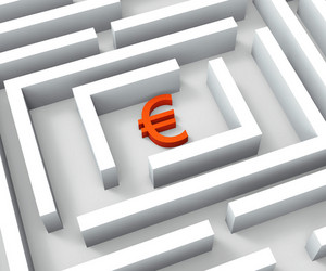 Euro Sign In Maze Shows Euros Credit