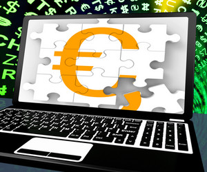 Euro Sign On Laptop Shows Online Money Exchange