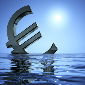Euro Sinking In The Sea Showing Depression Recession And Economic Downturn