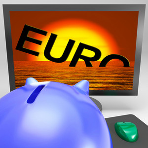 Euro Sinking On Monitor Shows Financial Risk