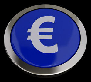 Euro Symbol Button In Blue Showing Money And Investment