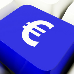 Euro Symbol Computer Key In Blue Showing Money And Investment