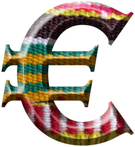 Euro Symbol Made With Hand Made Woolen Fabric