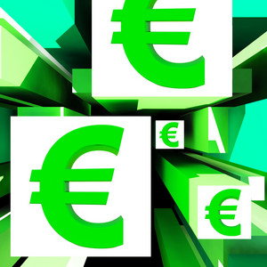Euro Symbol On Cubes Shows European Profits