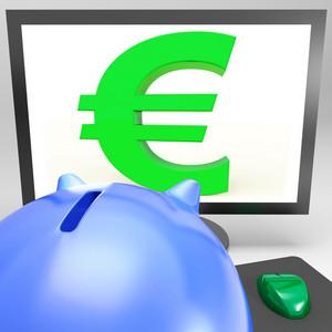 Euro Symbol On Monitor Shows European Fortune