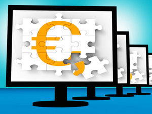 Euro Symbol On Monitors Showing Europe Profits
