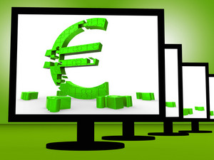 Euro Symbol On Monitors Shows European Savings