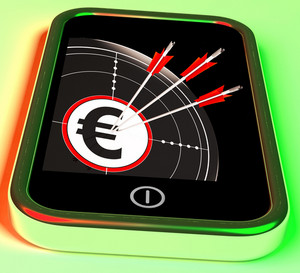 Euro Symbol On Smartphone Showing European Profits