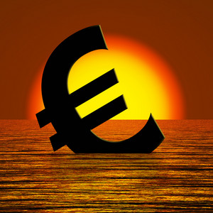 Euro Symbol Sinking And Sunset Showing Depression Recession And Economic Downturn