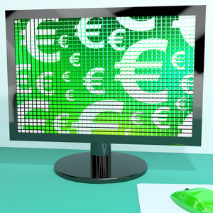Euro Symbols On Computer Screen Showing Money And Investments