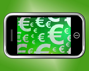 Euro Symbols On Mobile Screen Showing Money And Investment