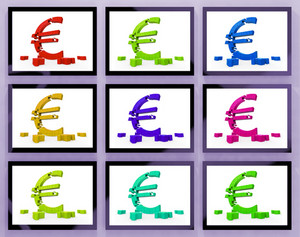Euro Symbols On Monitors Showing European Profits