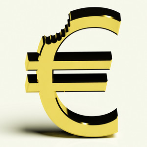 Euro With Bite Showing Devaluation Crisis And Recession