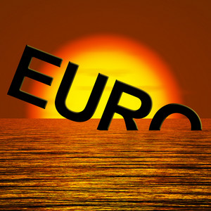 Euro Word Sinking And Sunset Showing Depression Recession And Economic Downturn