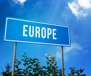 Europe On Road Sign