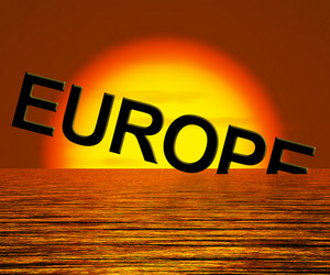 Europe Sinking And Sunset Showing Depression Recession And Economic Downturns