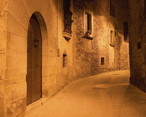 European Historic Alley At Night