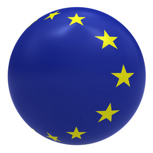 European Union Flag On The Ball Isolated On White.