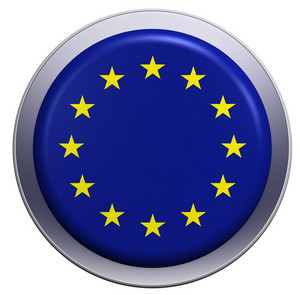 European Union Flag On The Round Button Isolated On White.