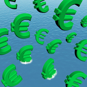Euros Falling In The Ocean Showing Depression Recession And Economic Downturn