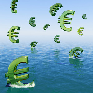 Euros Falling In The Sea Showing Depression Recession And Economic Downturn